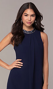 Image of short navy blue wedding-guest party dress by Simply. Style: MT-SD-9835 Detail Image 1