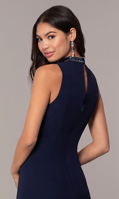 Image of short navy blue wedding-guest party dress by Simply. Style: MT-SD-9835 Detail Image 2