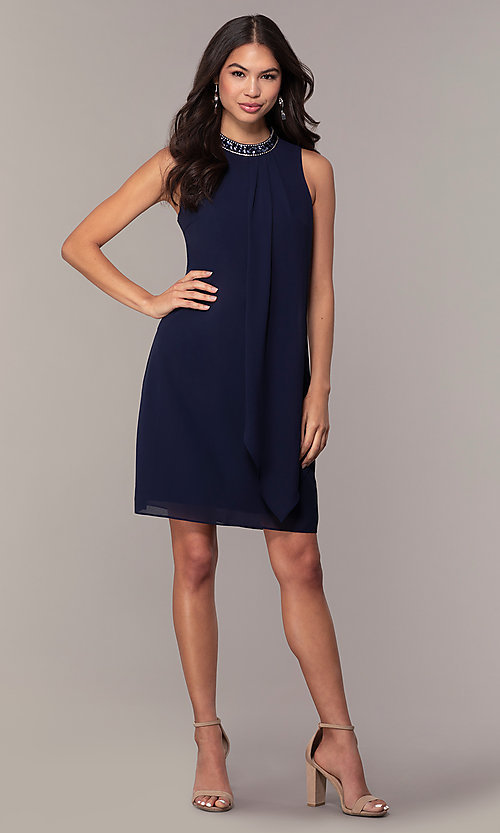 Image of short navy blue wedding-guest party dress by Simply. Style: MT-SD-9835 Detail Image 3