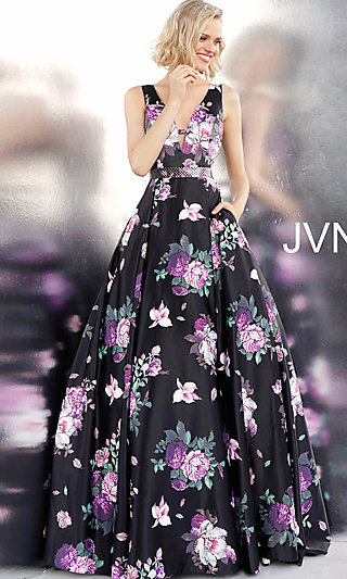 A-Line Print Formal Gown with Side Cut-Outs