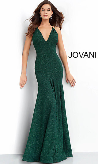 Long Open-Back Glitter Formal Gown by Jovani