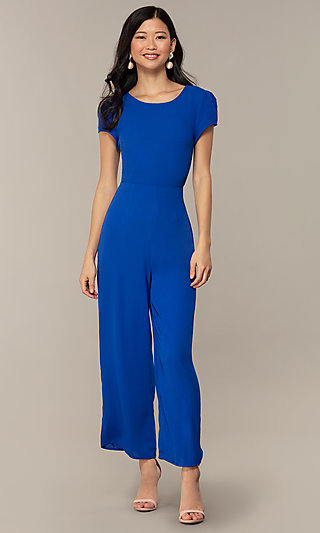 Short-Sleeve Wedding-Guest Jumpsuit with Cut Outs