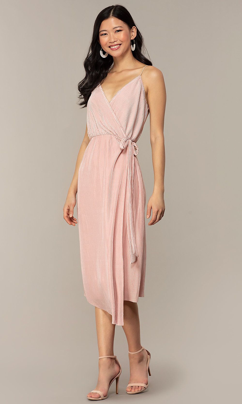 official shop where to buy picked up Knee-Length Silk Wrap Wedding-Guest Dress in Blush