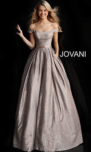 Long Glitter A-Line Formal Gown with Pockets