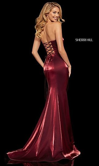 Sherri Hill Corset-Back Long Formal Evening Dress
