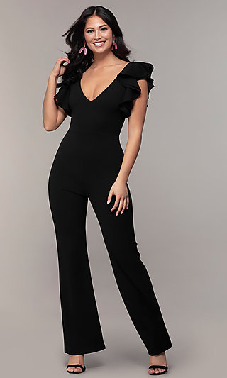 Flutter Sleeve V-Neck Cocktail Party Jumpsuit