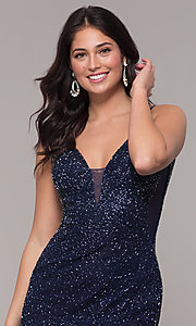 Image of midnight blue beaded v-neck long formal dress. Style: PV-PL-130 Detail Image 1