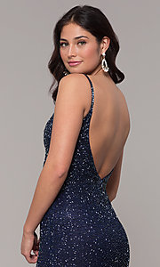Image of midnight blue beaded v-neck long formal dress. Style: PV-PL-130 Detail Image 2