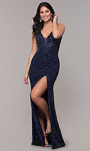 Image of midnight blue beaded v-neck long formal dress. Style: PV-PL-130 Detail Image 3