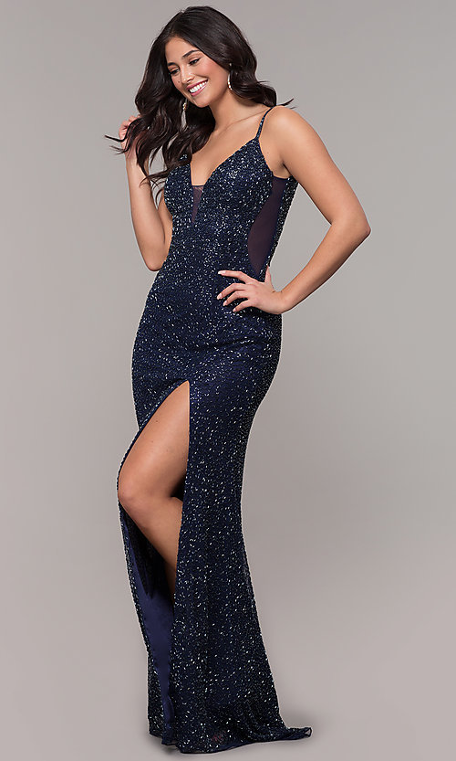 Image of midnight blue beaded v-neck long formal dress. Style: PV-PL-130 Front Image