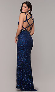 Image of open-back long sequin formal evening dress. Style: PV-PL-135 Front Image