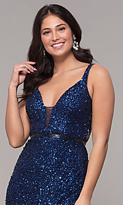 Image of open-back long sequin formal evening dress. Style: PV-PL-135 Detail Image 1