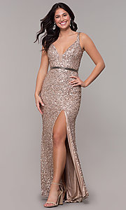 Image of open-back long sequin formal evening dress. Style: PV-PL-135 Detail Image 4