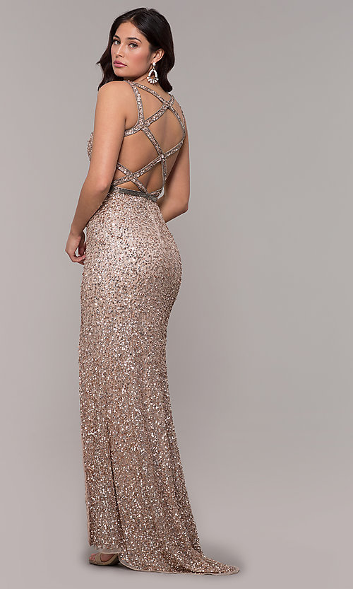 Image of open-back long sequin formal evening dress. Style: PV-PL-135 Detail Image 5