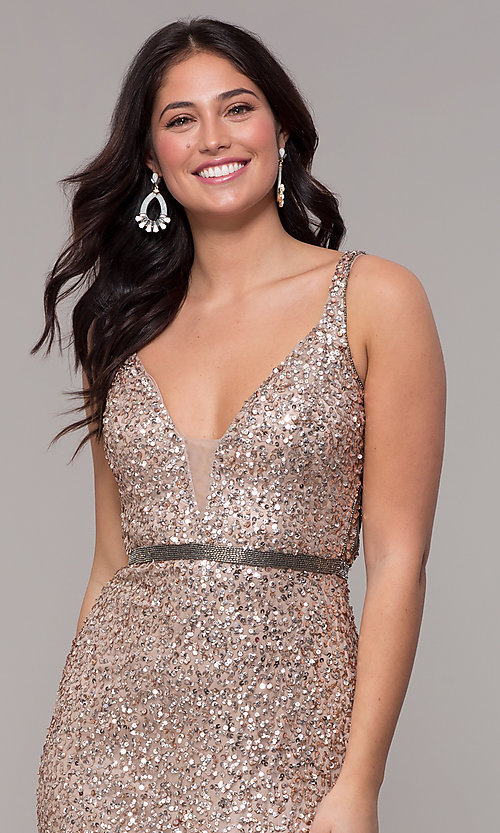 Image of open-back long sequin formal evening dress. Style: PV-PL-135 Detail Image 6