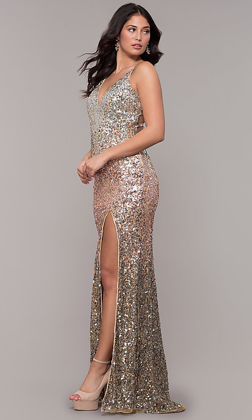 b16fc31be673 Sequin V-Neck Caged Back Long Prom Dress by PromGirl
