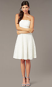 Image of short ivory white lace strapless party dress. Style: JU-10394D Front Image