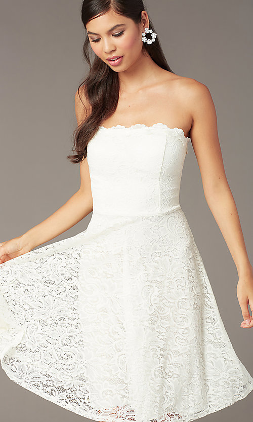 Image of short ivory white lace strapless party dress. Style: JU-10394D Detail Image 1