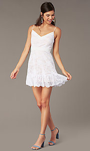 Image of ivory short a-line lace graduation party sundress. Style: JU-11248 Front Image