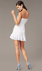 Image of ivory short a-line lace graduation party sundress. Style: JU-11248 Back Image