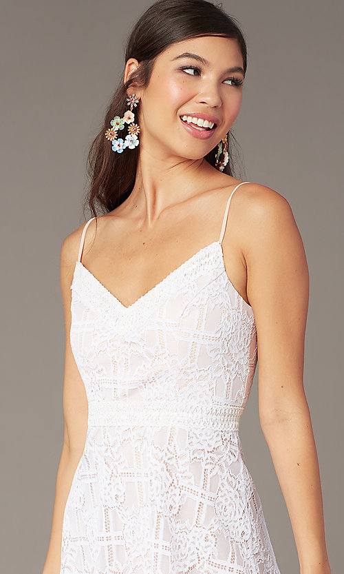 Image of ivory short a-line lace graduation party sundress. Style: JU-11248 Detail Image 1