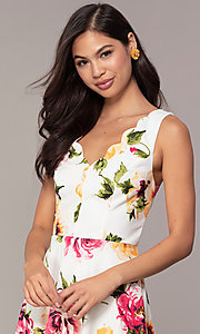 Image of floral-print short ivory graduation party dress. Style: CT-7244XC7BT1 Detail Image 1
