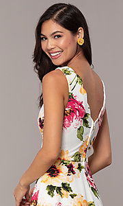Image of floral-print short ivory graduation party dress. Style: CT-7244XC7BT1 Detail Image 2