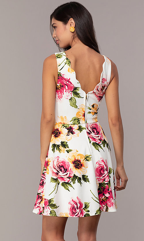 Image of floral-print short ivory graduation party dress. Style: CT-7244XC7BT1 Back Image