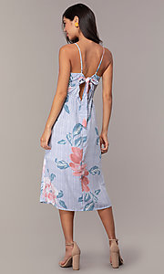 Image of floral-print midi-length blue casual party dress. Style: CT-A351A-K36T1 Back Image