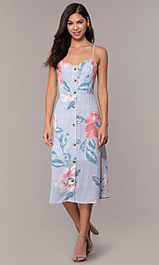 Image of floral-print midi-length blue casual party dress. Style: CT-A351A-K36T1 Detail Image 3