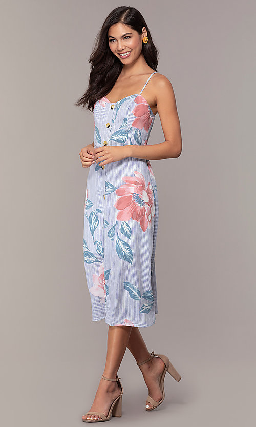 Image of floral-print midi-length blue casual party dress. Style: CT-A351A-K36T1 Front Image