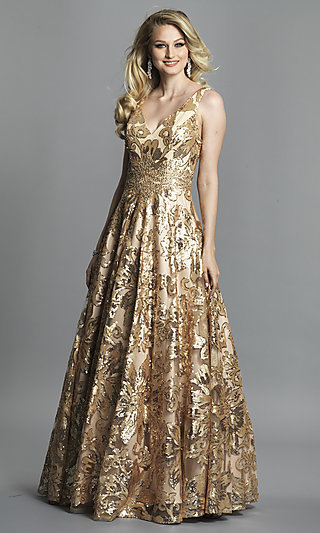 Sleeveless Print Formal Gown by Dave and Johnny