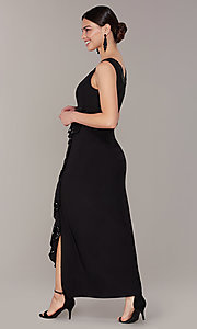 Image of long black mother-of-the-bride dress with jacket. Style: MO-3845 Detail Image 2