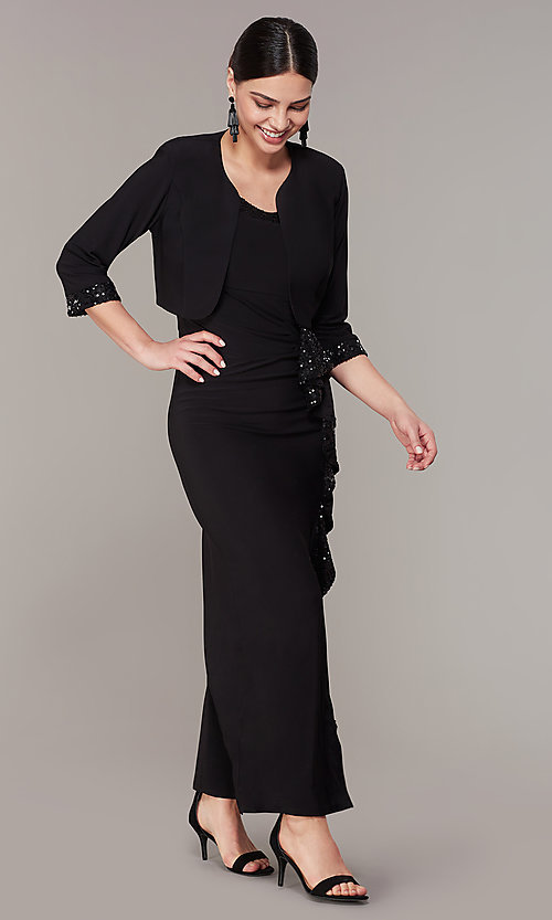 Image of long black mother-of-the-bride dress with jacket. Style: MO-3845 Front Image