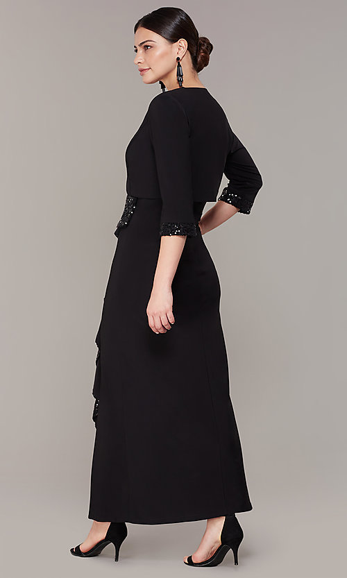 Image of long black mother-of-the-bride dress with jacket. Style: MO-3845 Back Image