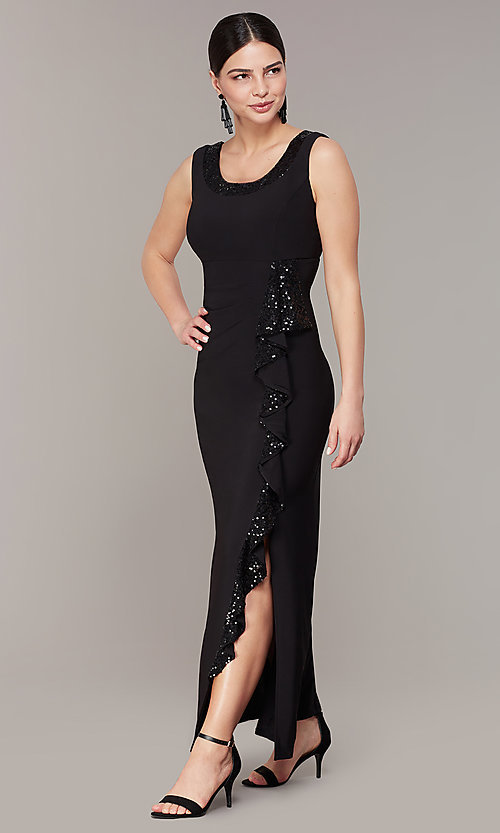 Image of long black mother-of-the-bride dress with jacket. Style: MO-3845 Detail Image 1