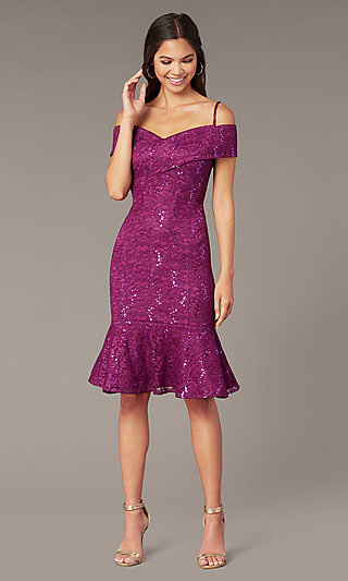 c220c767c2b Sequined-Lace Knee-Length MOB Dress