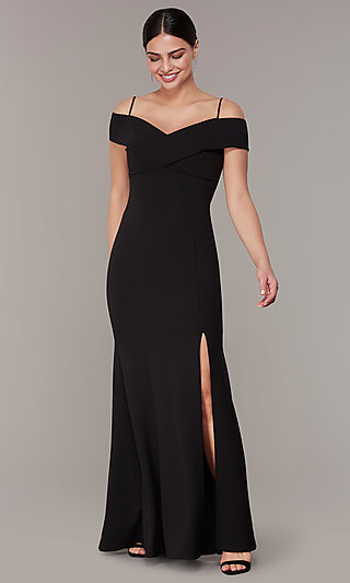 35e74c7088607 Long Formal Off-the-Shoulder Wedding-Guest Dress