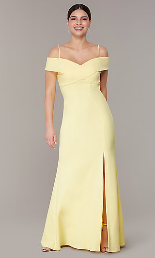 Long Formal Off-the-Shoulder Wedding-Guest Dress