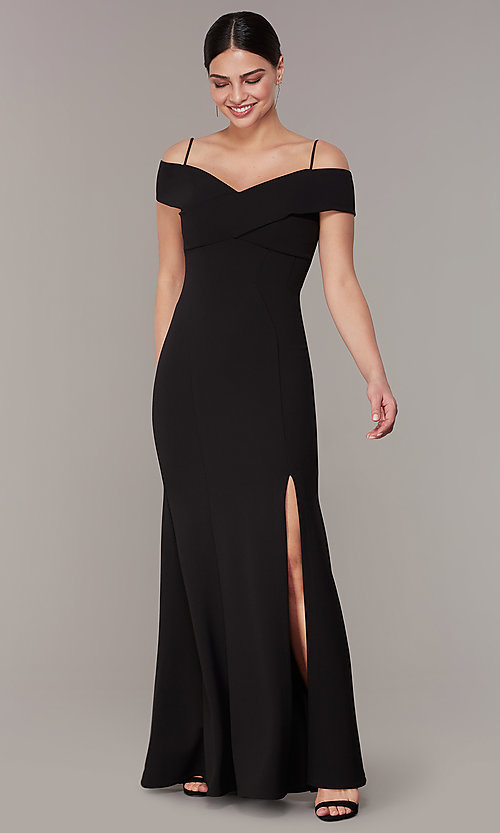Image of long formal off-the-shoulder wedding-guest dress. Style: MO-21825 Front Image