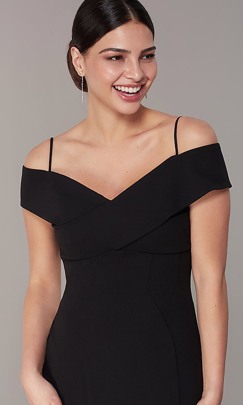 Image of long formal off-the-shoulder wedding-guest dress. Style: MO-21825 Detail Image 1