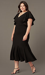 Image of plus-size midi wedding-guest dress with sleeves. Style: SY-IXD6208AP Front Image