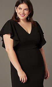 Image of plus-size midi wedding-guest dress with sleeves. Style: SY-IXD6208AP Detail Image 1