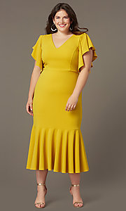 Image of plus-size midi wedding-guest dress with sleeves. Style: SY-IXD6208AP Detail Image 2