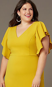Image of plus-size midi wedding-guest dress with sleeves. Style: SY-IXD6208AP Detail Image 4