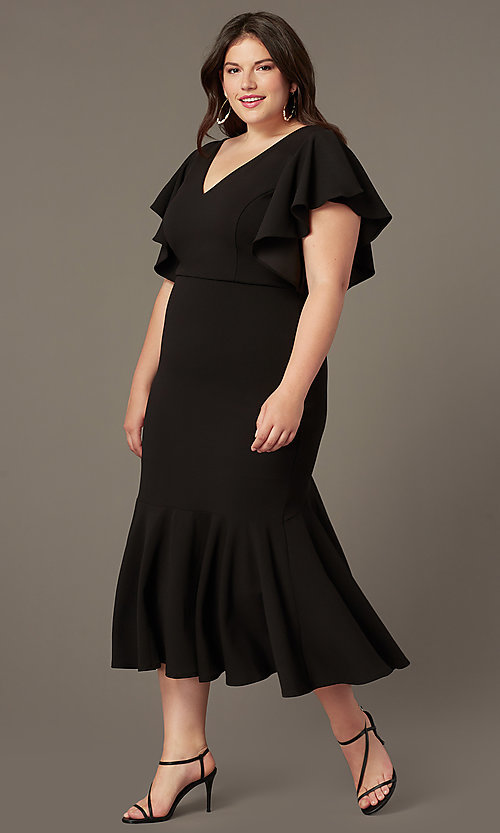 Wedding Guest Dresses With Sleeves.Plus Size Midi Wedding Guest Dress With Sleeves
