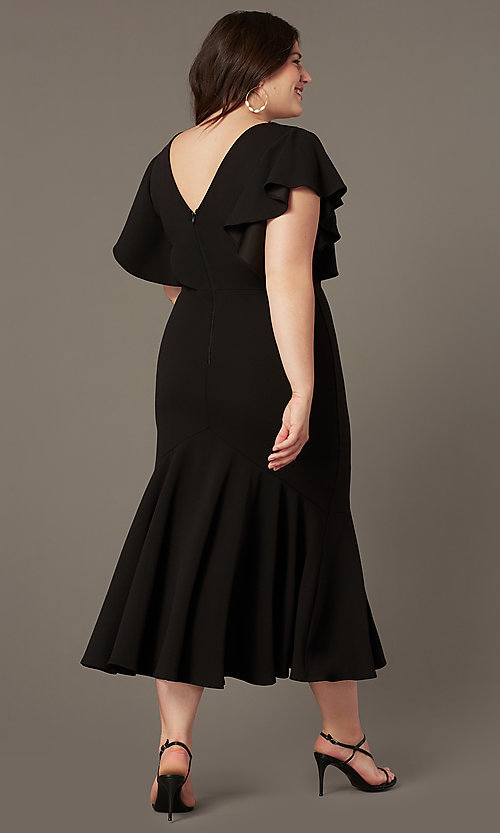 Image of plus-size midi wedding-guest dress with sleeves. Style: SY-IXD6208AP Back Image