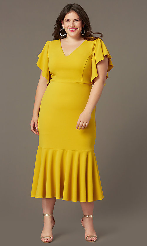 Plus-Size Midi Wedding-Guest Dress with Sleeves