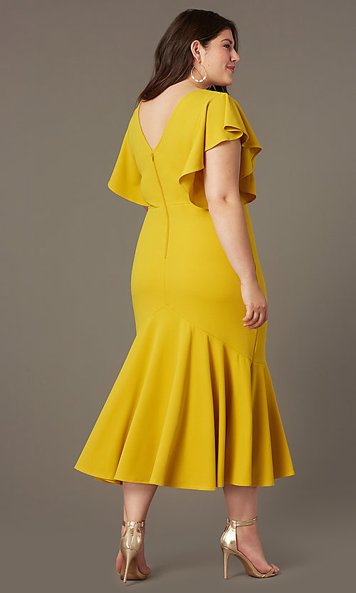Image of plus-size midi wedding-guest dress with sleeves. Style: SY-IXD6208AP Detail Image 3