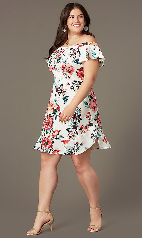 Image of off-the-shoulder short print plus-size party dress. Style: SY-IXD6234EP Front Image